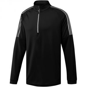 Adidas Mens 3-stripe French Terry Layering Long Sleeve Quarter Zip Top