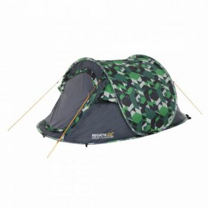 Malawi 2-Man Pop Up Print Festival Tent Green Geometric Print